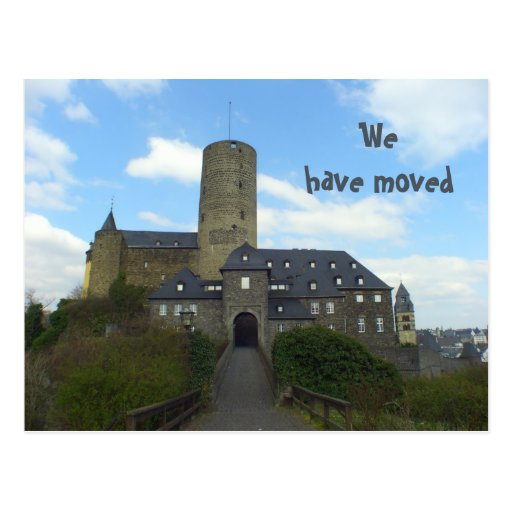 We have moved - castle motive cards post card