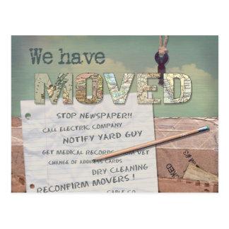 """We Have Moved"" change of address postcard"