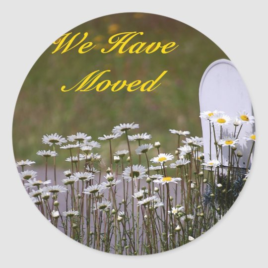 We Have Moved Daisies & Mailbox Sticker