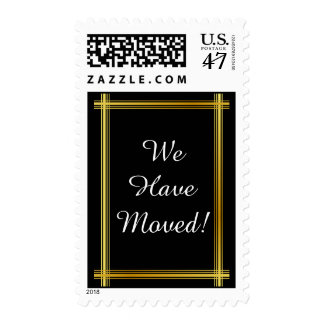 """We Have Moved!"" + Faux Gold-like Border Postage"