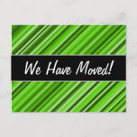 """[ Thumbnail: """"We Have Moved!"""" + Green Lines/Stripes Pattern Postcard ]"""