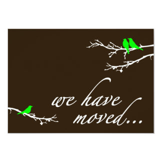 we have moved : mod birds 5x7 paper invitation card