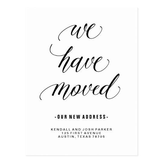 We have moved modern calligraphy new address postcard