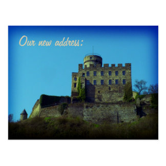 We have moved, New address, medieval castle card Post Card