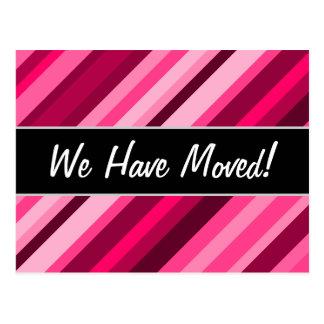 """""""We Have Moved!"""" + Pink/Magenta Stripes Pattern Postcard"""