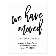 We Have Moved | Simple Modern Typography Postcard at Zazzle