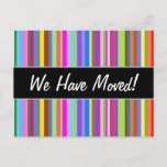 """[ Thumbnail: """"We Have Moved!"""" + Stripes of Various Colors Postcard ]"""