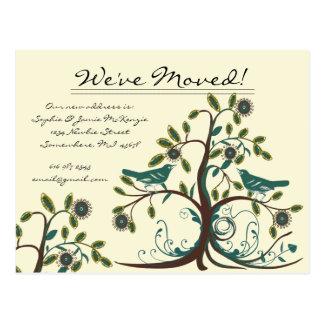We Have Moved Teal Vintage Birds in a Tree Postcard