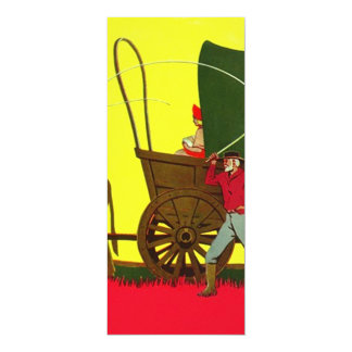 We Have Moved ~ Wagon Train Family Moving Announce 4x9.25 Paper Invitation Card