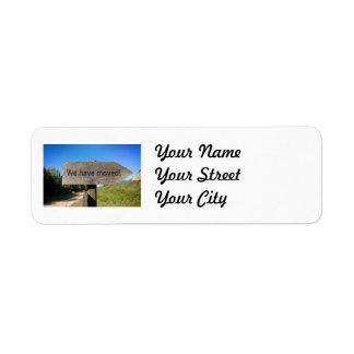 We have moved wooden sign custom return address labels
