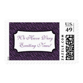 We Have Very Exciting News, Purple Waves Pattern Postage