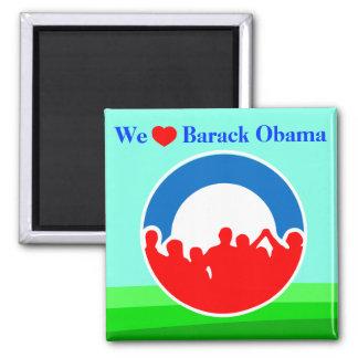 We Heart Barack Obama 2012 - ReElect Him! 2 Inch Square Magnet