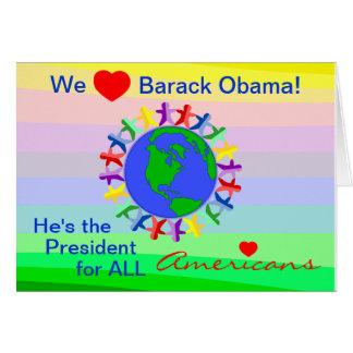 We Heart Barack Obama, President for All Americans Card