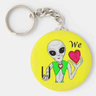 We Heart You - Alien Key Chain