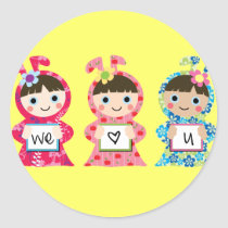 we heart you classic round sticker