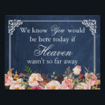 "We Know You Would Be Here Blue Chalkboard Floral Poster<br><div class=""desc"">================= ABOUT THIS DESIGN ================= We Know You Would Be Here If Heaven Wasn&#39;t So Far Away 