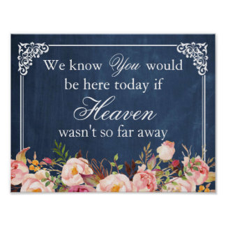 We Know You Would Be Here Blue Chalkboard Floral Poster