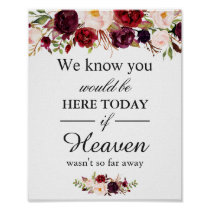 We Know You Would Be Here Burgundy Red Floral Poster