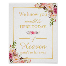 We Know You Would Be Here Floral Chic Wedding Sign
