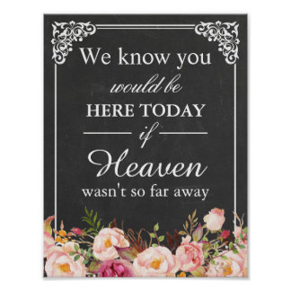 We Know You Would Be Here Remembrance Wedding Sign Poster