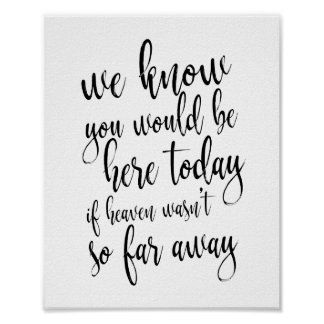 We know you would be here today 8x10 Memorial Sign