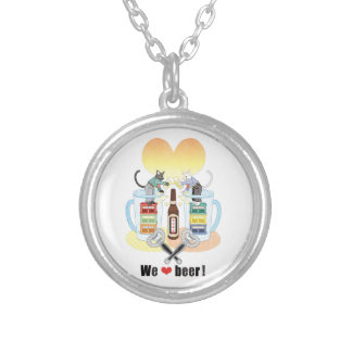 We love beer! silver plated necklace