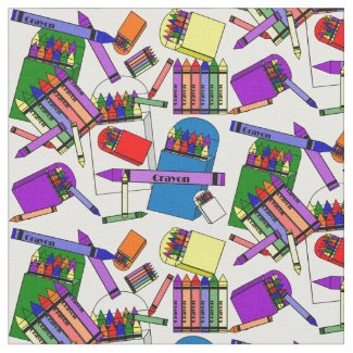 We Love Crayons Custom Fabric
