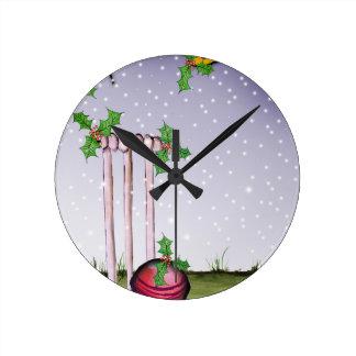 we love cricket xmas round clock