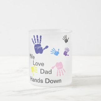 We love Dad hands down Frosted Glass Coffee Mug