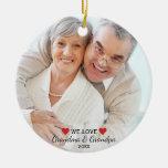 We Love Grandma & Grandpa 2 Photo Christmas Ceramic Ornament