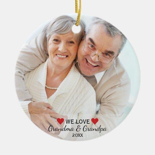 We Love Grandma  Grandpa 2 Photo Christmas Ceramic Ornament