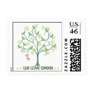 We Love Green Bird Design Postage