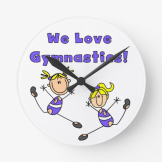 We Love Gymnastics Round Wall Clocks
