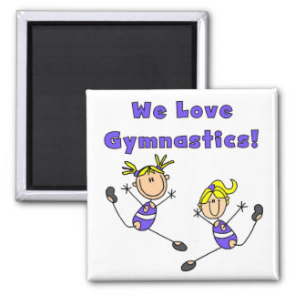 We Love Gymnastics Tshirts and Gifts 2 Inch Square Magnet