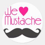 We love Mustache 丸形シール・ステッカー