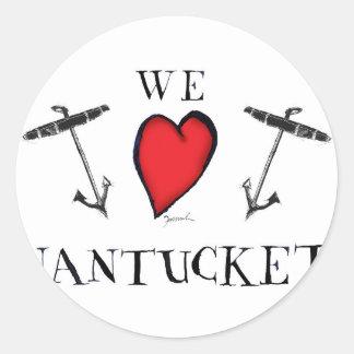 we love nantucket classic round sticker