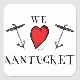 we love nantucket square sticker