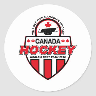 We Love Our Canadian Hockey! Classic Round Sticker