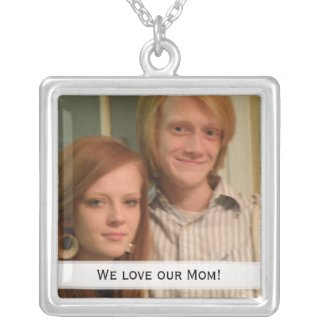 We Love Our Mom! Picture: Necklace Plated with Sterling Silver Chain Length: 18