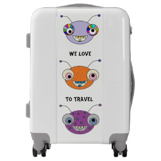 Fun Smiley Alien Monsters Luggage