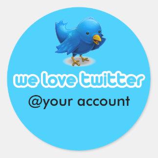 we love twitter round stickers