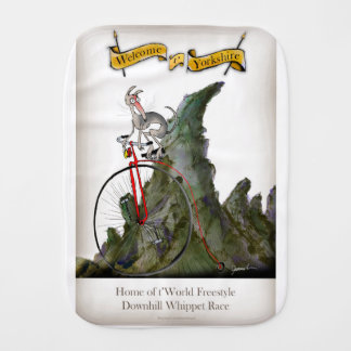 we love yorkshire downhill whippet race burp cloth