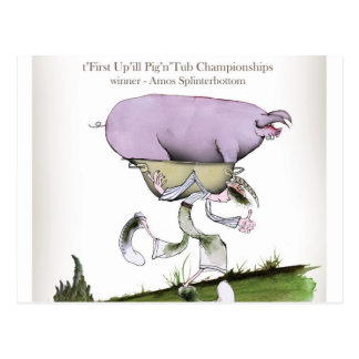 we love yorkshire up'ill pig race postcard
