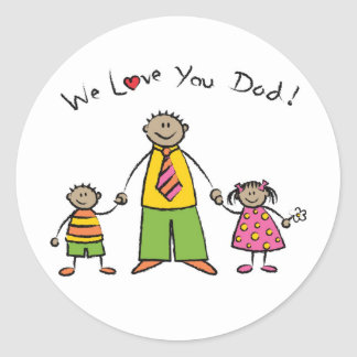 We Love You Dad Cartoon Family Happy Father's Day Classic Round Sticker