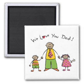 We Love You Dad Cartoon Family Happy Father's Day 2 Inch Square Magnet