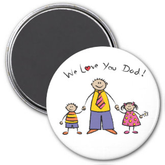 We Love You Dad Cartoon Family Happy Father's Day 3 Inch Round Magnet