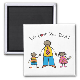 We Love You Dad Cartoon Family Happy Father's Day Refrigerator Magnet