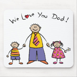 We Love You Dad Cartoon Family Happy Father's Day Mouse Pad