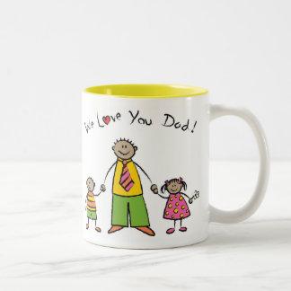 We Love You Dad Cartoon Family Happy Father's Day Two-Tone Coffee Mug