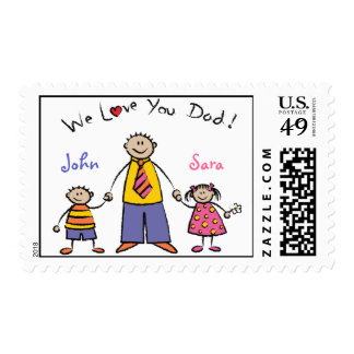 We Love You Dad Cartoon Family Happy Father's Day Postage